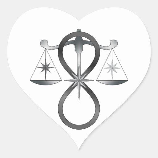 All Gods Universal Power Monochrome Symbol Heart Sticker