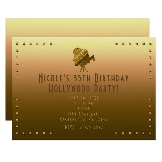 All Gold Cinema & Stars Hollywood Party Invitation