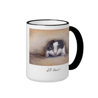 'All Gone' Cat Painted in Watercolour Ringer Mug