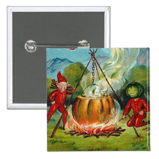 All Halloween Greetings Flying Witch 15 Cm Square Badge