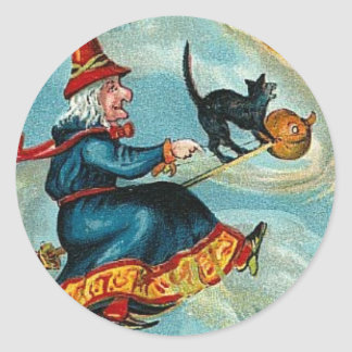 All Halloween Greetings Flying Witch Round Sticker