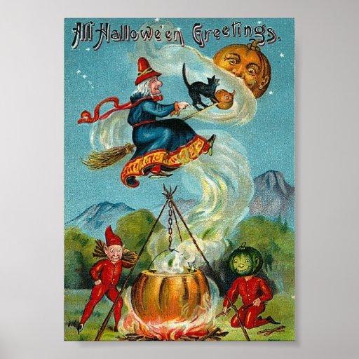All Halloween Greetings Vintage Print