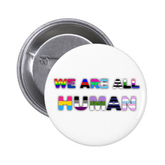 All Human White 6 Cm Round Badge
