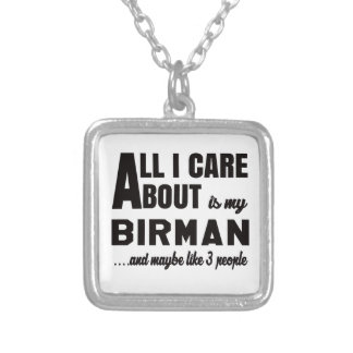 All i care about is my Birman. Square Pendant Necklace