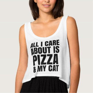 ALL I CARE ABOUT IS PIZZA & MY CAT Flowy Crop Tank