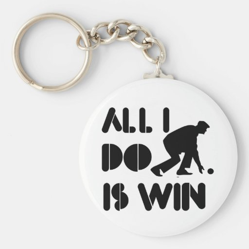 All I Do Is Win At Lawn bowling Basic Round Button Key Ring