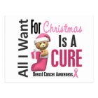 All I Want For Christmas Breast Cancer Postcard
