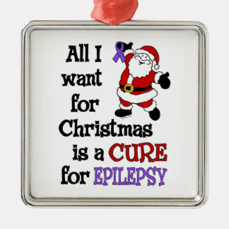 All I Want For Christmas...Epilepsy Silver-Colored Square Decoration