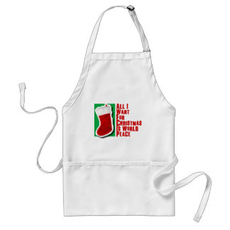 All I Want for Christmas is World Peace Aprons