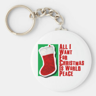 All I Want for Christmas is World Peace Basic Round Button Key Ring