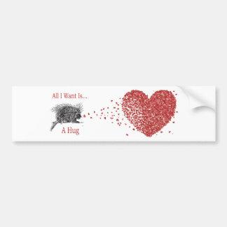 All I Want is a Hug Print Porcupine Art Car Bumper Sticker