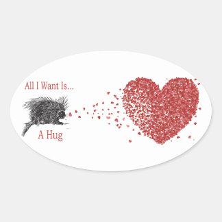 All I Want is a Hug Print Porcupine Art Sticker