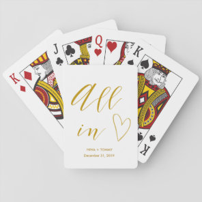 All In Gold Lettered Wedding Favours Playing Cards