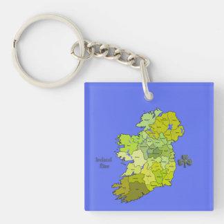 All Irish Map of Ireland Double-Sided Square Acrylic Key Ring