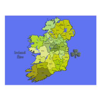 All Irish Map of Ireland Postcard