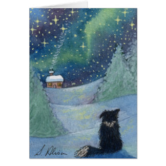 All is bright Border Collie dog Card