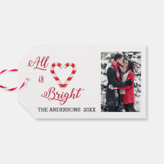 All is Bright Candy Cane Heart Specialized Photo Gift Tags