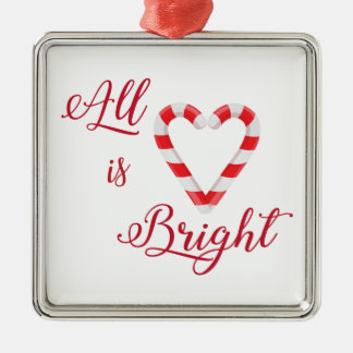 All is Bright Christmas Candy Cane Heart Silver-Colored Square Decoration