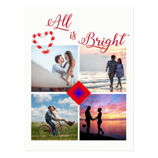 All is Bright Photo Collage Candy Cane Heart Postcard