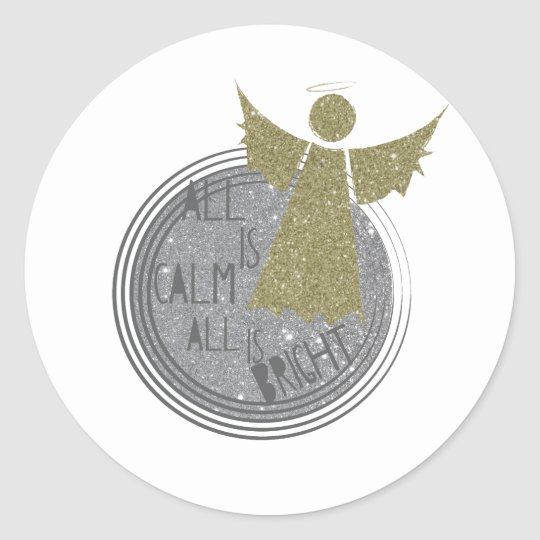 All is calm ... Is Bright Christmas Carol Classic Round Sticker