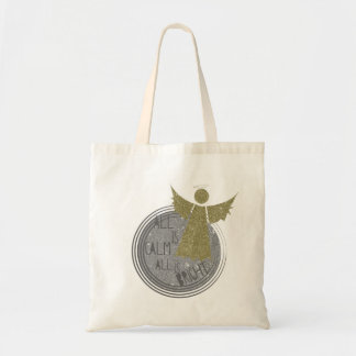 All is calm ... Is Bright Christmas Carol Tote Bag