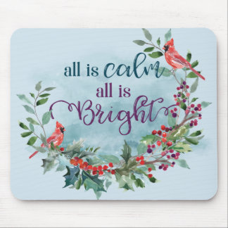 All is Calm - Winter Cardinals Mousepad