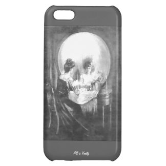 All is Vanity-Woman looking at Mirror? or Skull? Case For iPhone 5C