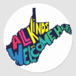 All Kinds are Welcome Here Round Sticker