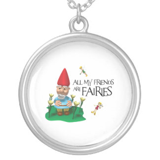 ALL MY FRIENDS ARE FAIRIES ROUND PENDANT NECKLACE