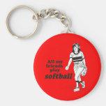 All my friends play softball keychains