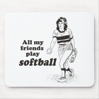 All my friends play softball mouse pad