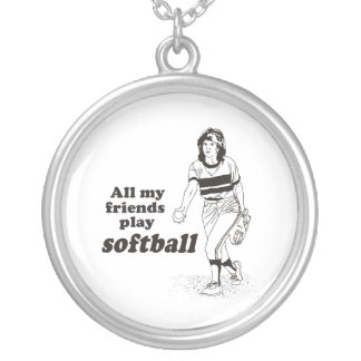All my friends play softball round pendant necklace