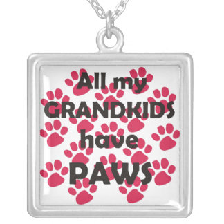 All My Grandkids Have Paws Square Pendant Necklace