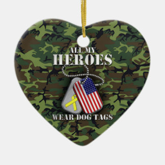 All My Heroes Wear Dog Tags - Camo Ceramic Heart Decoration