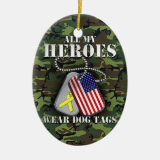 All My Heroes Wear Dog Tags - Camo Ceramic Oval Decoration