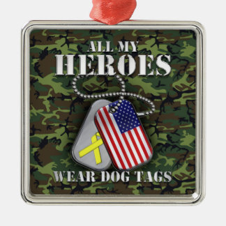 All My Heroes Wear Dog Tags - Camo Silver-Colored Square Decoration