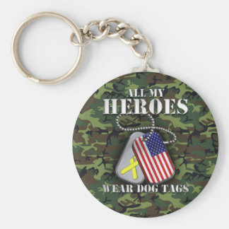 All My Heroes Wear Dog Tags - Camo Basic Round Button Key Ring