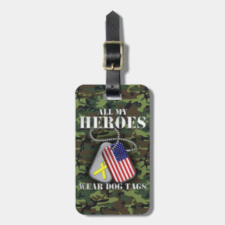 All My Heroes Wear Dog Tags - Camo Luggage Tags