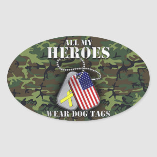All My Heroes Wear Dog Tags - Camo Oval Sticker