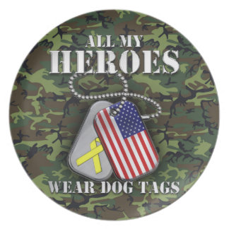 All My Heroes Wear Dog Tags - Camo Plate