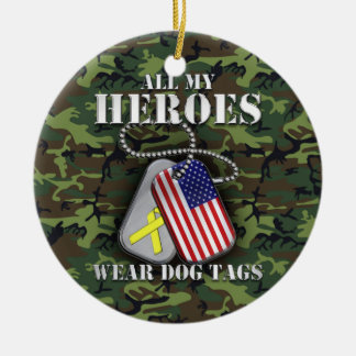 All My Heroes Wear Dog Tags - Camo Round Ceramic Decoration