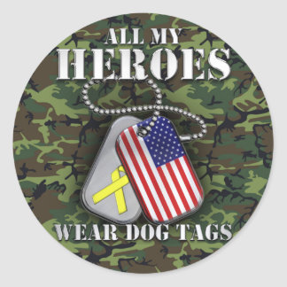 All My Heroes Wear Dog Tags - Camo Round Sticker