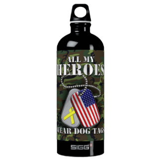 All My Heroes Wear Dog Tags - Camo SIGG Traveller 1.0L Water Bottle