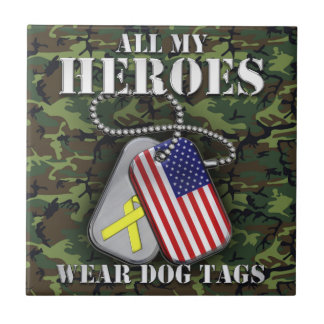 All My Heroes Wear Dog Tags - Camo Small Square Tile