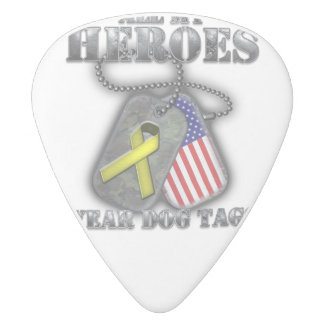 All My Heroes Wear Dog Tags White Delrin Guitar Pick