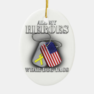 All My Heroes Wear Dog Tags Christmas Tree Ornaments