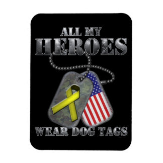All My Heroes Wear Dog Tags Vinyl Magnets