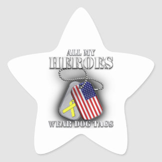 All My Heroes Wear Dog Tags Star Sticker