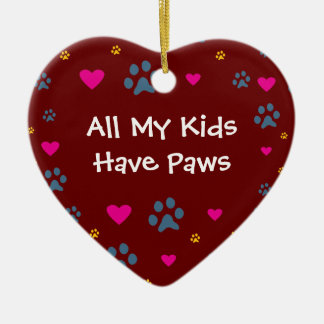 All My Kids-Children Have Paws Ceramic Heart Decoration