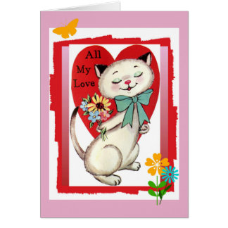 All My Love Valentine Cool Cat Greeting Card